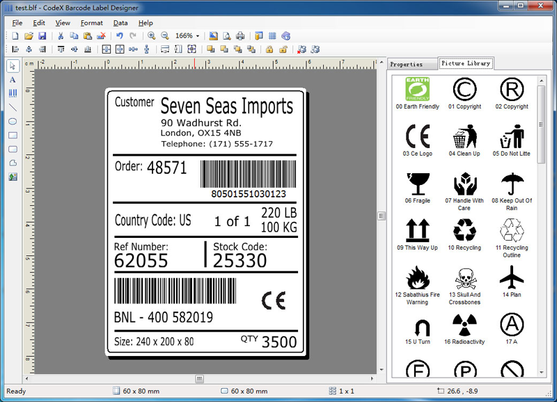 CodeX Barcode Label Designer full screenshot