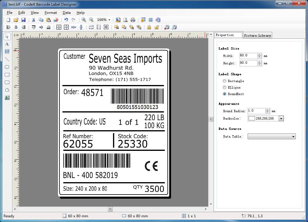 Codex barcode label generator barcode label design and Create a blueprint online
